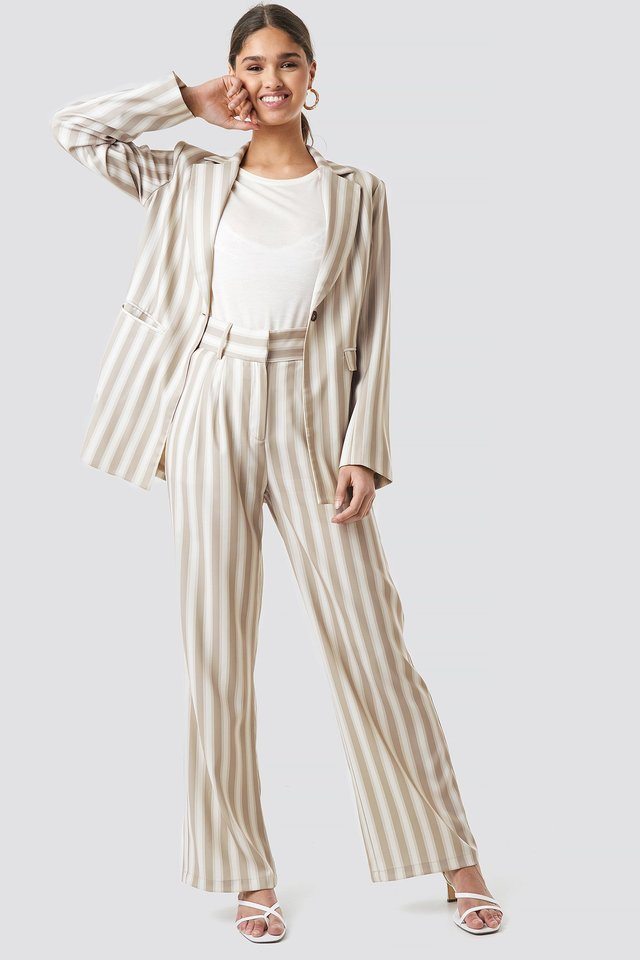 Tailored Striped Jacket Outfit.