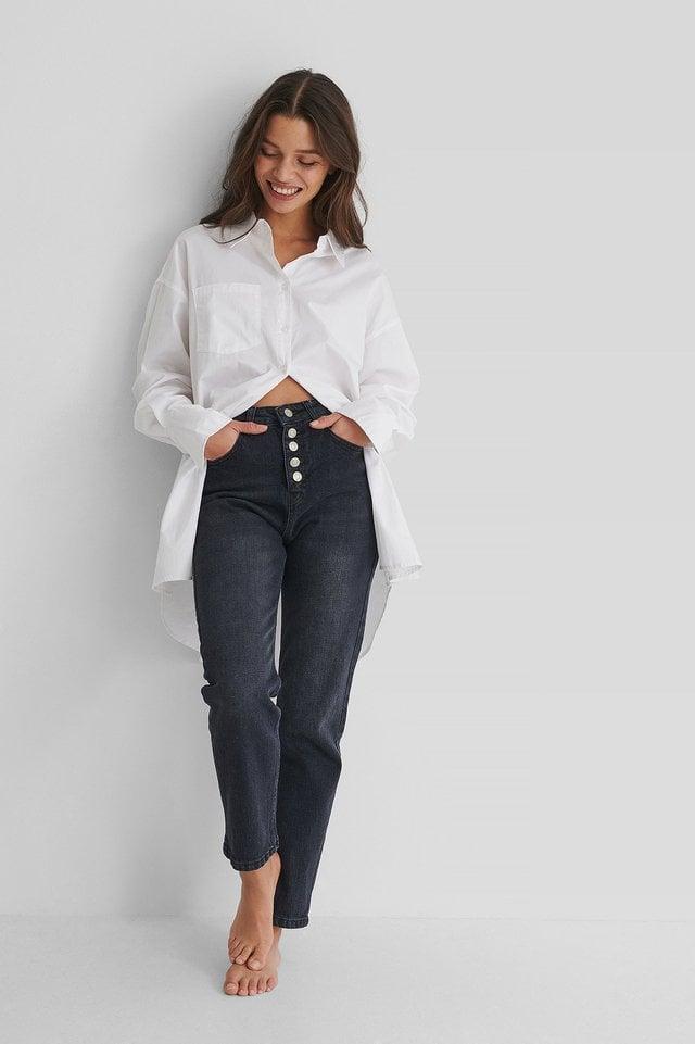 Button Detail Crop Jeans Black Outfit.