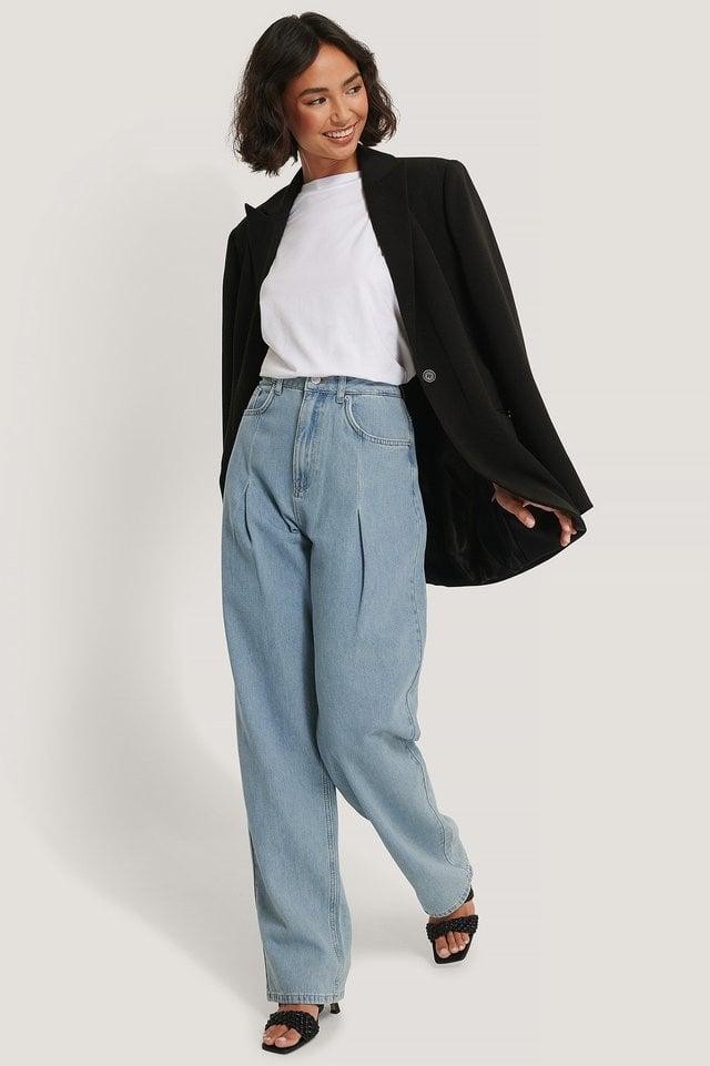 Wide Leg Pleat Denim Blue Outfit.
