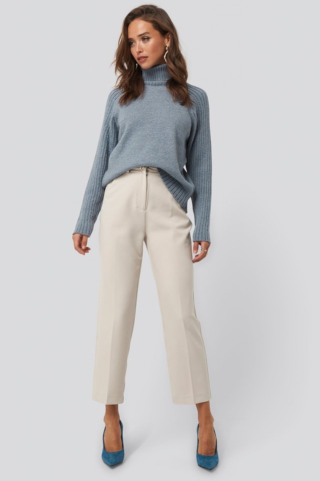 High Neck Ribbed Sleeves Sweater Outfit.