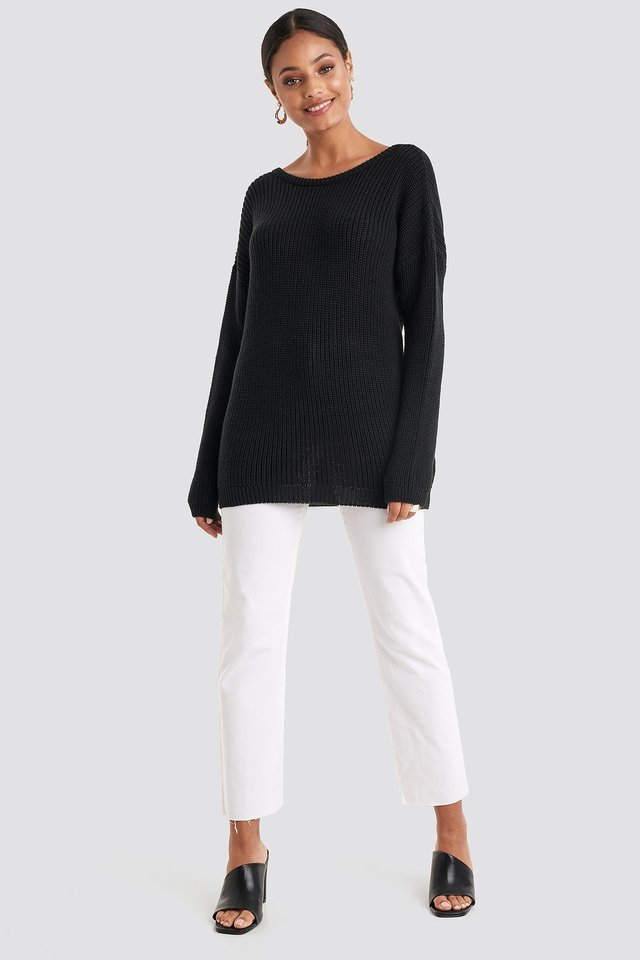 Knitted Deep V-neck Sweater Outfit.