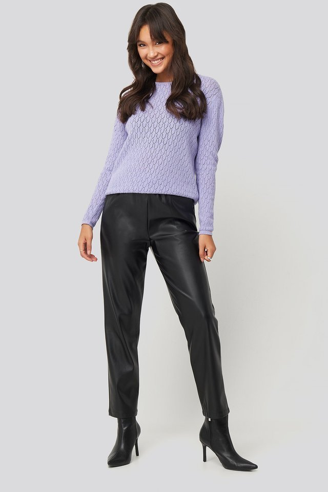 Lace Stitch Round Neck Sweater Outfit.