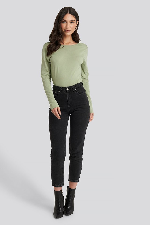 Deep Back Long Sleeve Top Outfit.