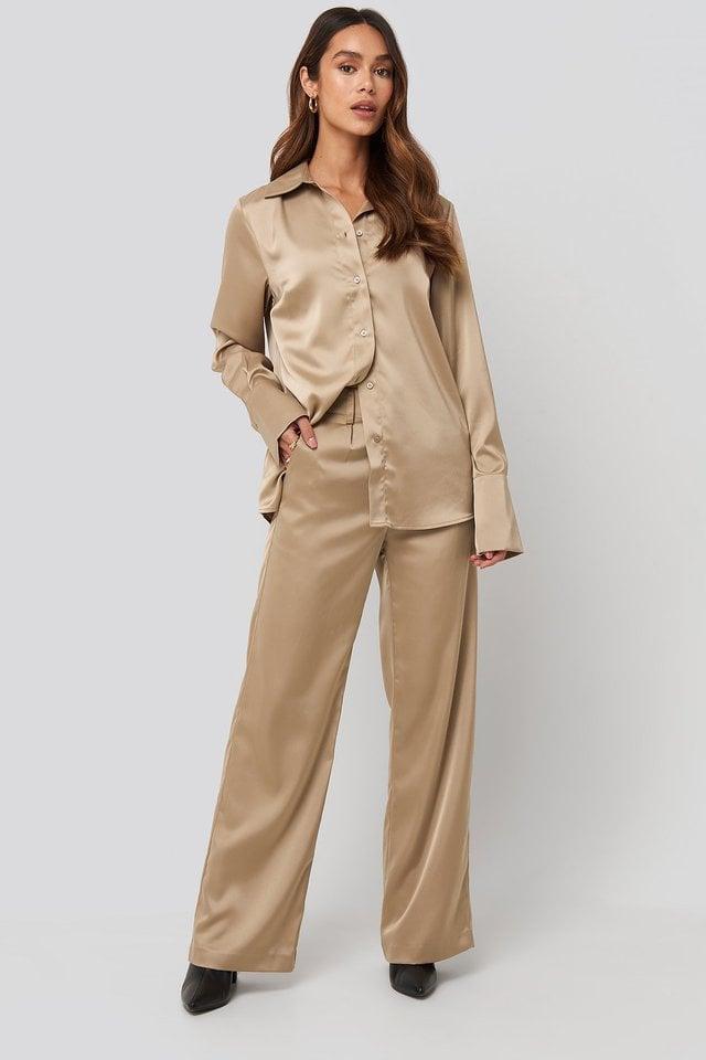Wide Leg Satin Suit Pants Outfit.
