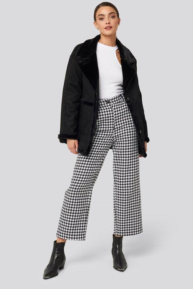 Black Faux Suede Fur Jacket