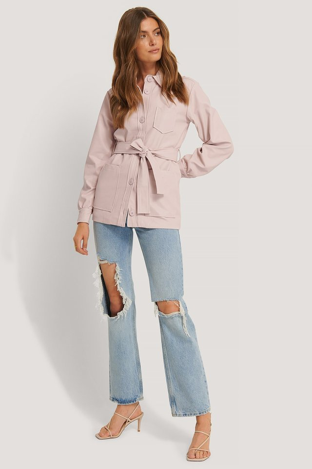 Balloon Sleeve Tied Waist Pu Jacket Pink Outfit.