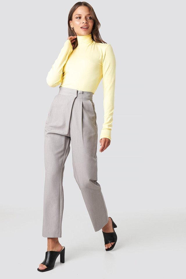 Viscose Long Sleeve Polo Top Outfit.