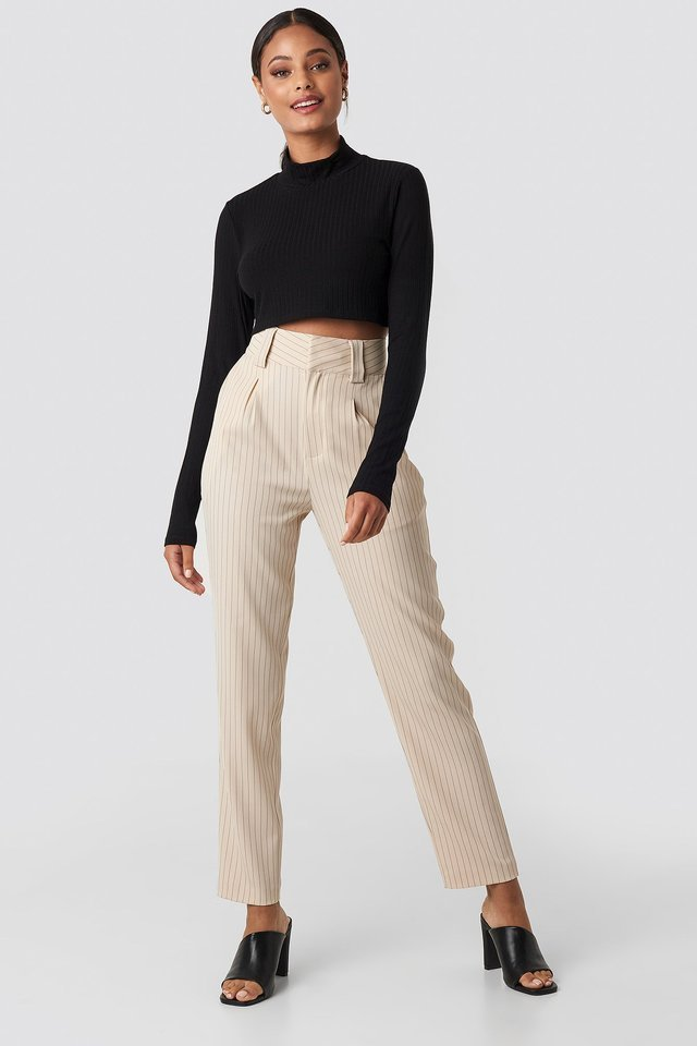 Wide Rib Polo Neck Long Sleeve Cropped Top Outfit.