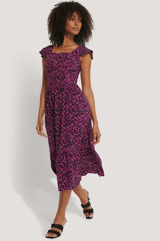 Flower Pattern Midi Dress Outfit.