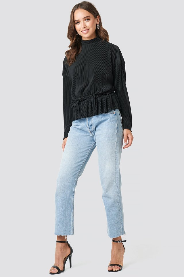 Pleated High Neck Long Sleeve Top Outfit.