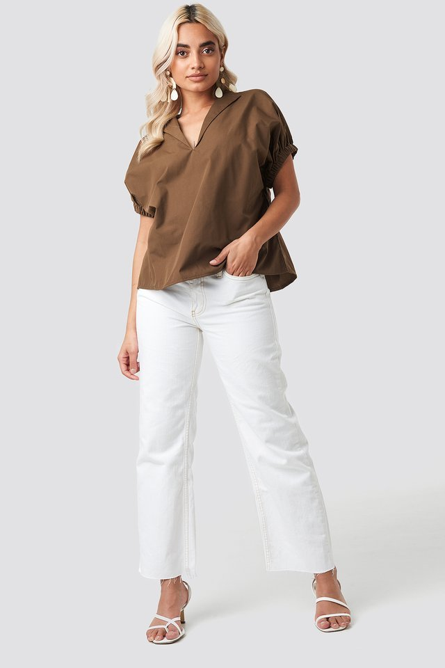 Oversized Puff Short Sleeve Shirt Outfit.