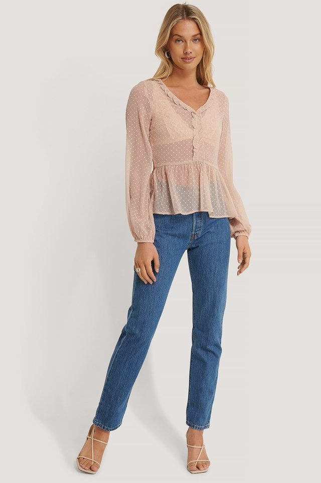 Shirred Dobby V-neck Blouse Outfit.