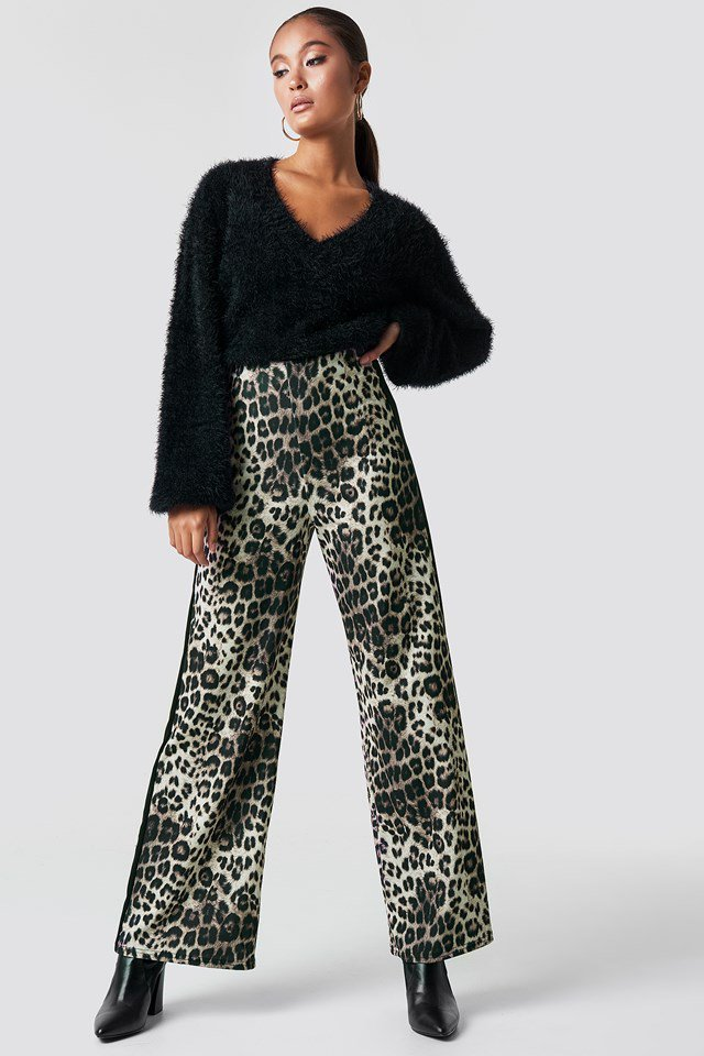 Knit and Leo Print Trousers Look