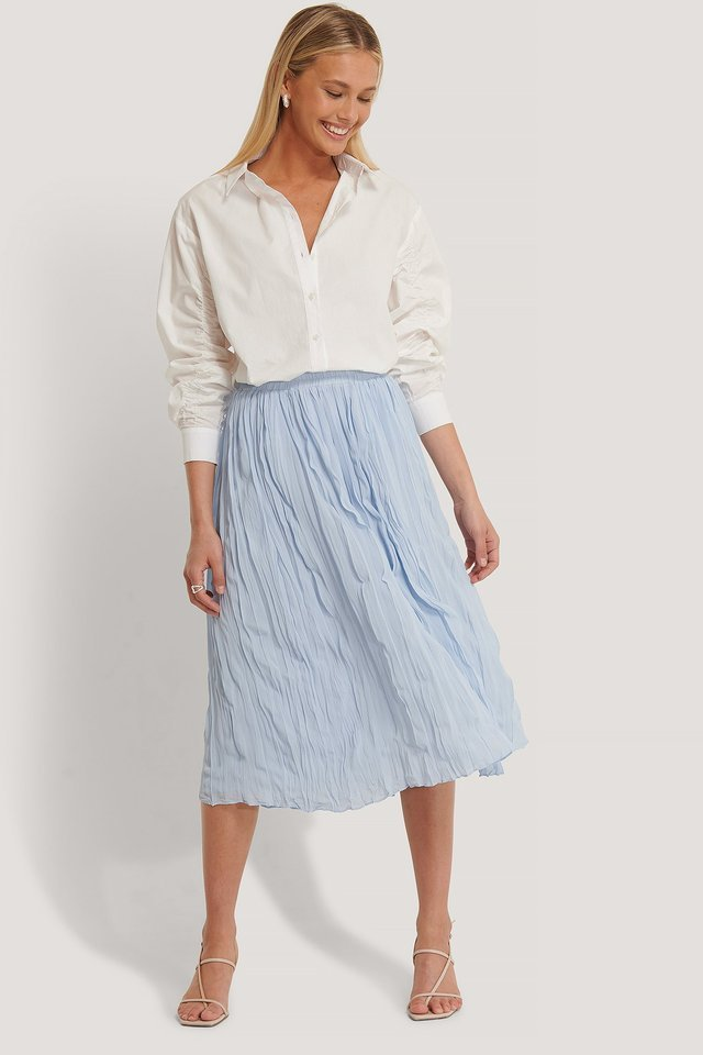Creased Midi Skirt Outfit.