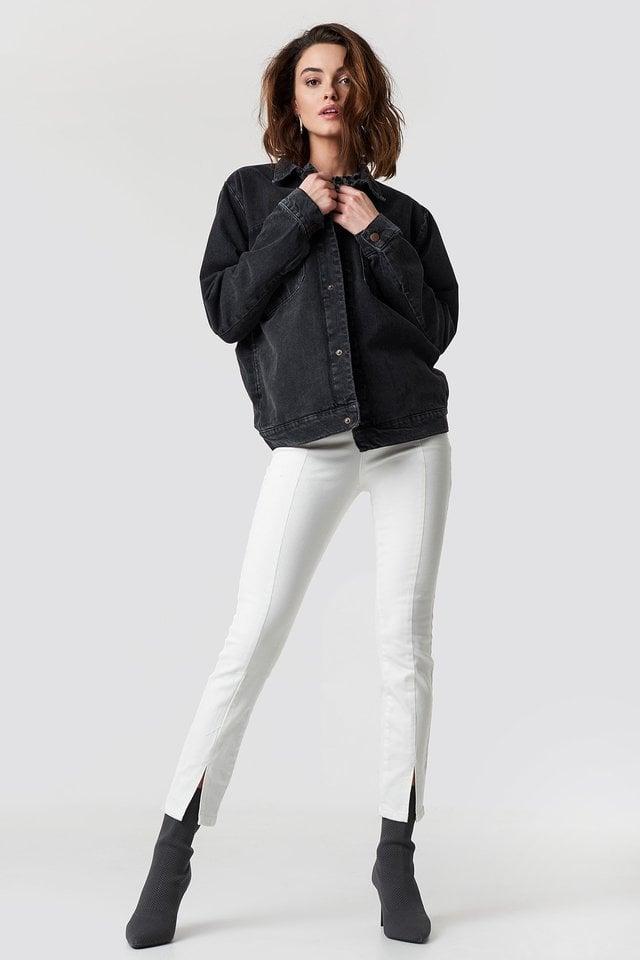 Big Pocket Denim Jacket Black Outfit.
