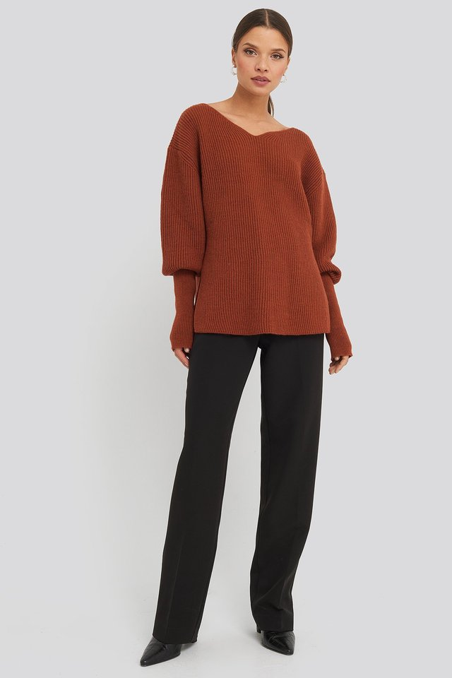 Notched Neckline Ribbed Sweater Outfit.