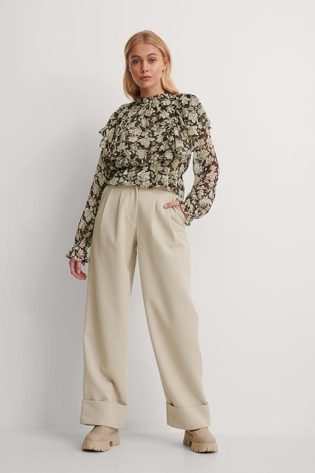 Beige Pantalon De Costume Taille Haute