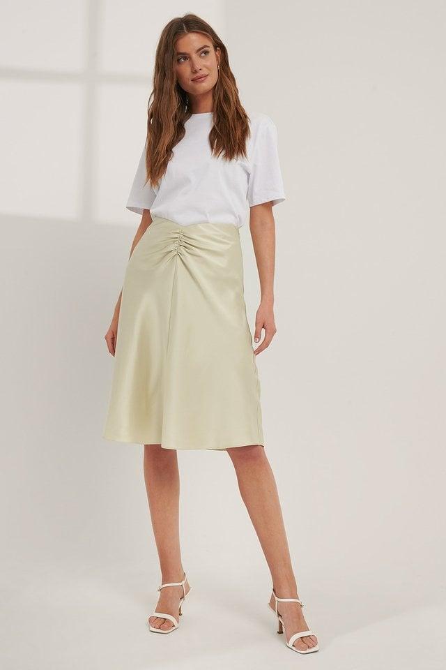 V-shaped Satin Skirt Outfit.