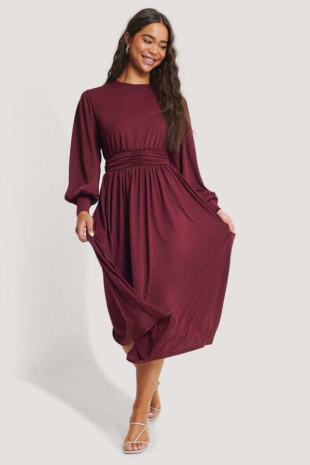 Gathered Waist Jersey Dress Outfit.