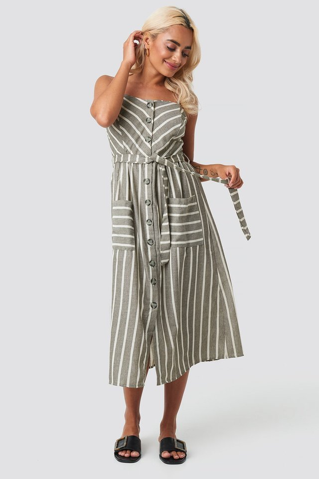 Button Linen Midi Dress Outfit.