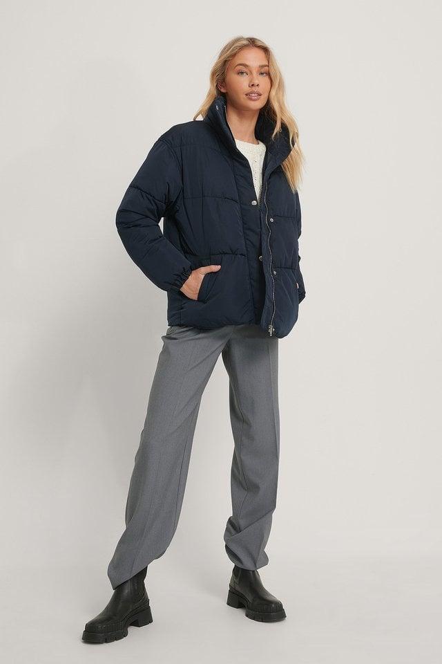 Kira Padded Jacket Navy Outfit.