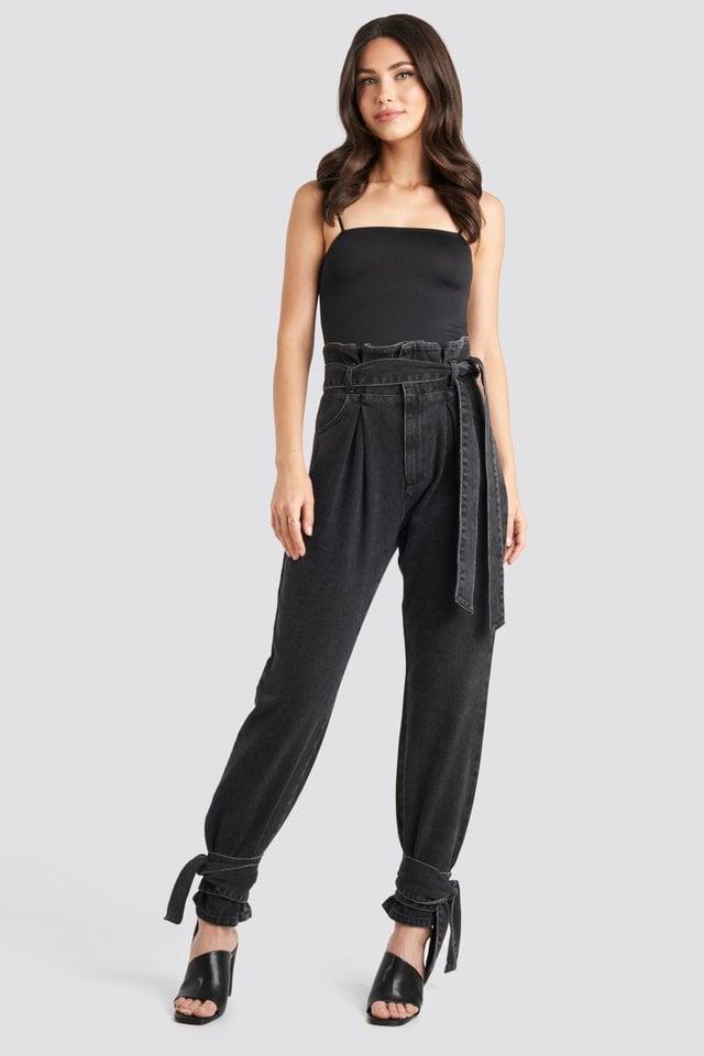 Tie Hem Paperbag Waist Jeans Black Outfit.