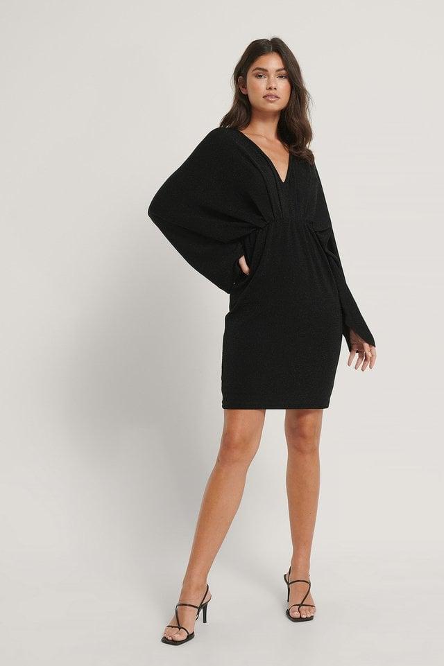 Batwing Glitter Mini Dress Outfit.