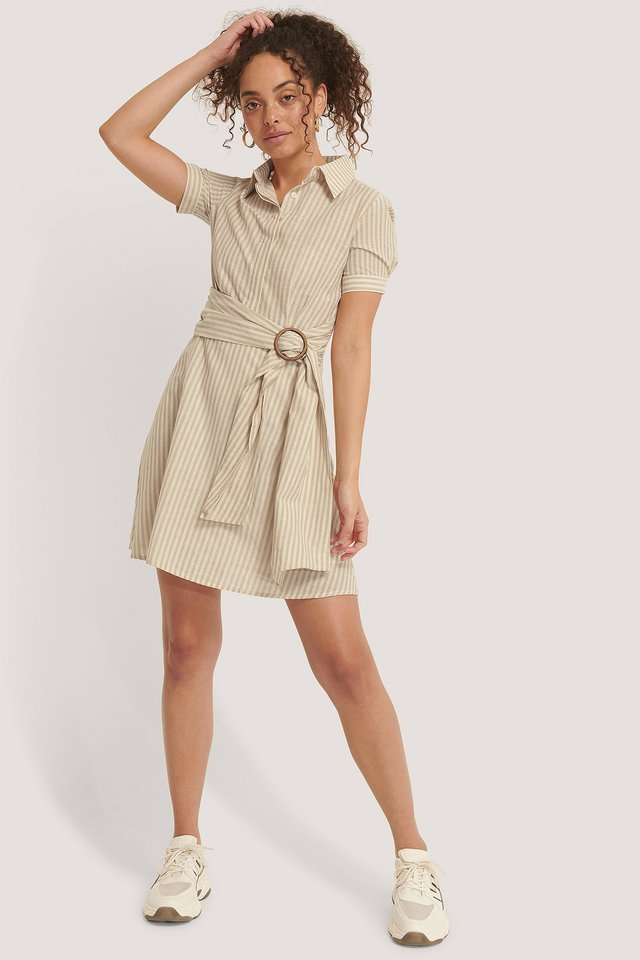 Belt Detailed Mini Dress Outfit.