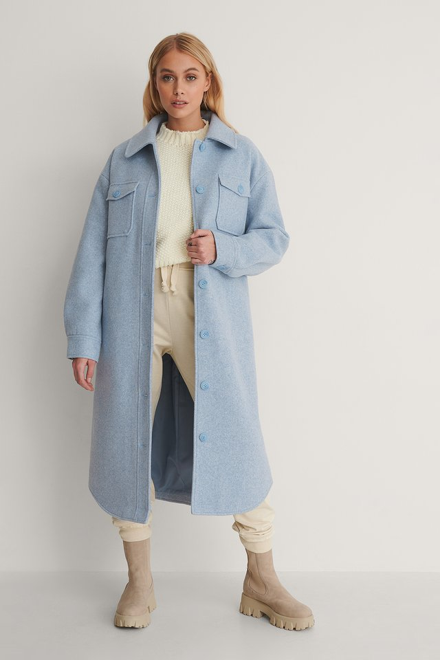 Chest Pocket Belted Long Jacket Outfit.