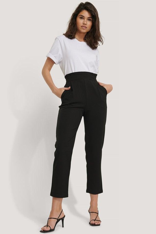Black High Waist Cropped Suit Pants