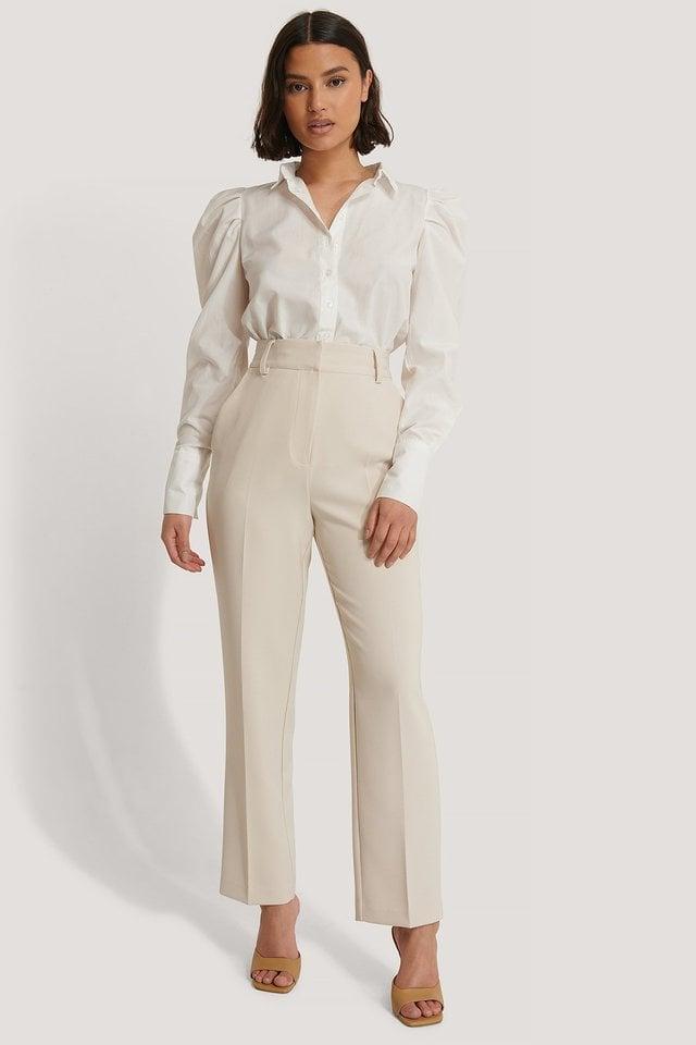 Beige Pantalon De Costume Court Taille Haute