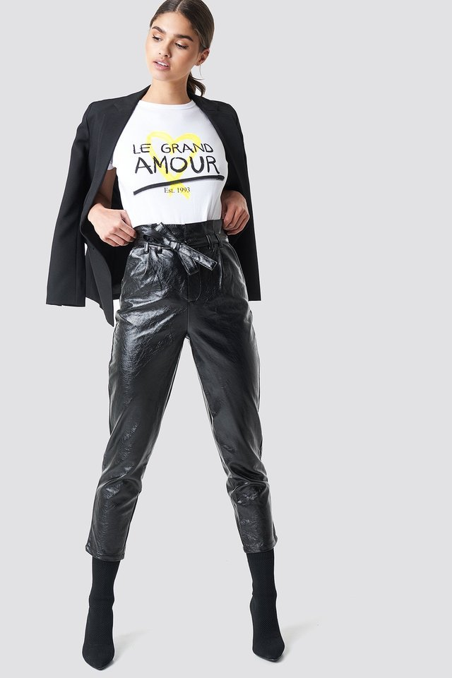 Paperwaist Patent Leather Pants Outfit.