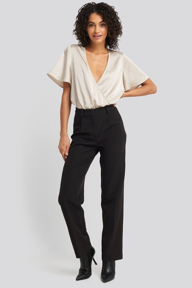 Wrap Over Short Sleeve Body Outfit.