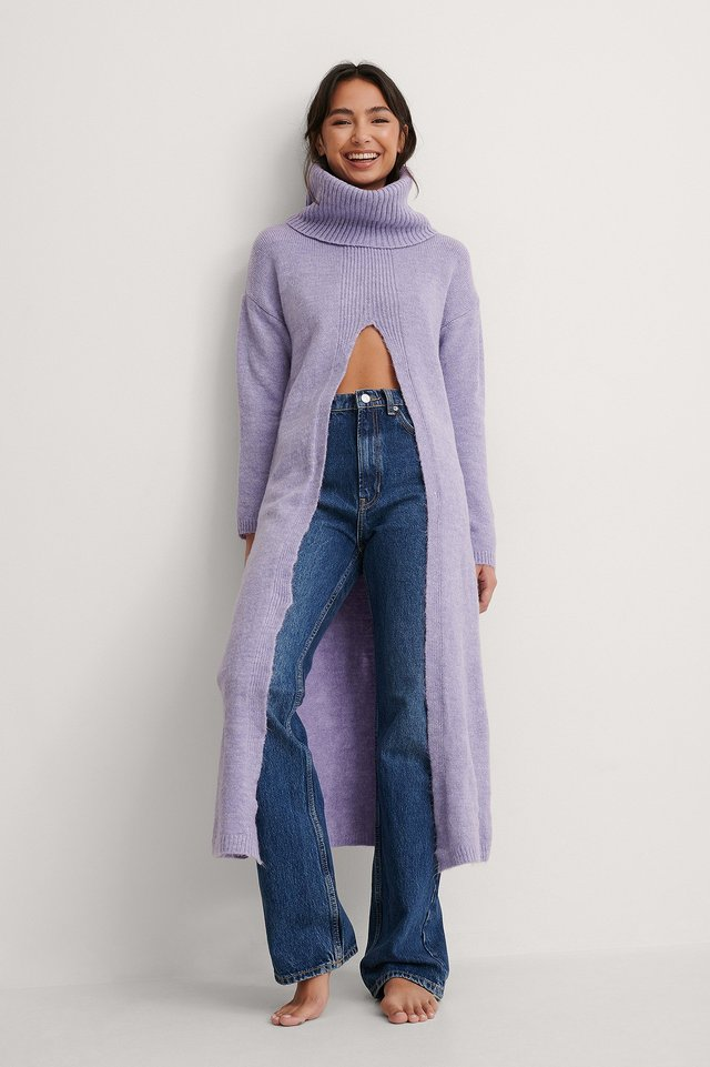 Long Slit Sweater Outfit.