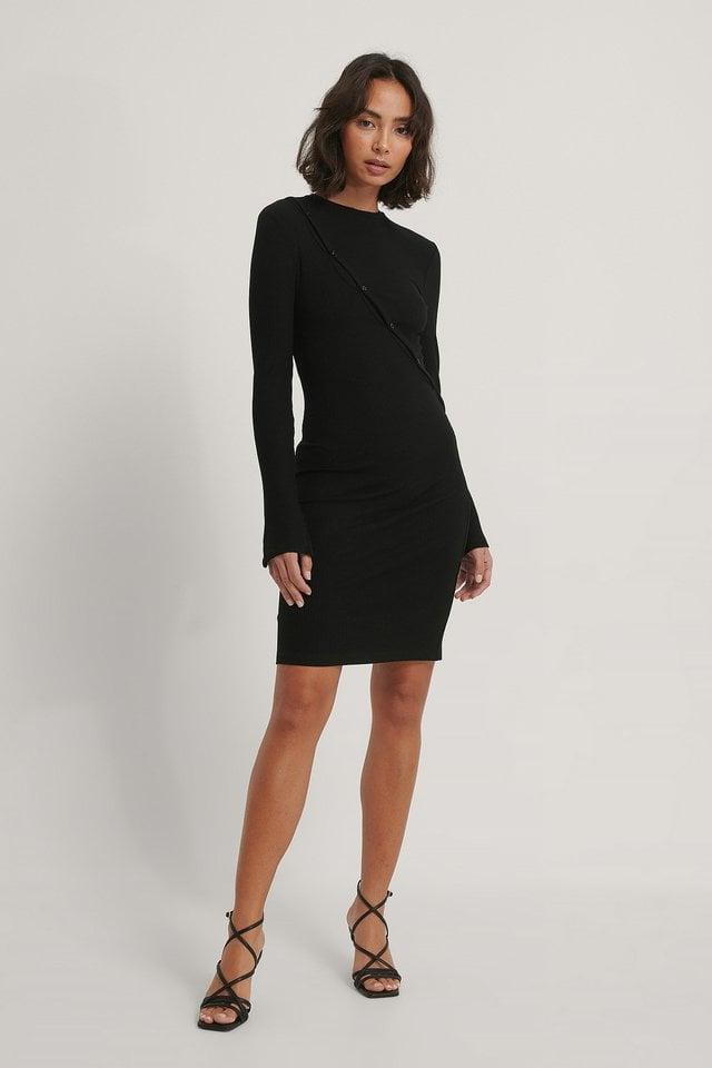 Button Detail Jersey Dress Outfit.