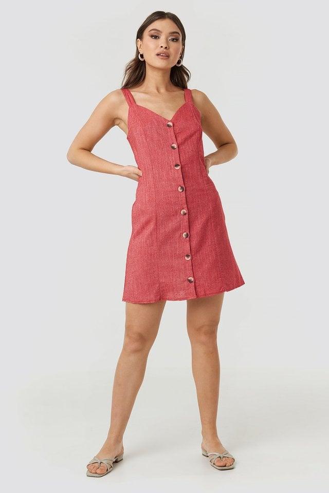 Red Button Detail Mini Dress