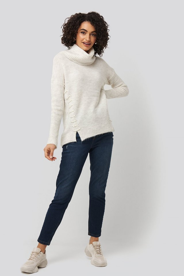 Side Tied Knitted Sweater Outfit.