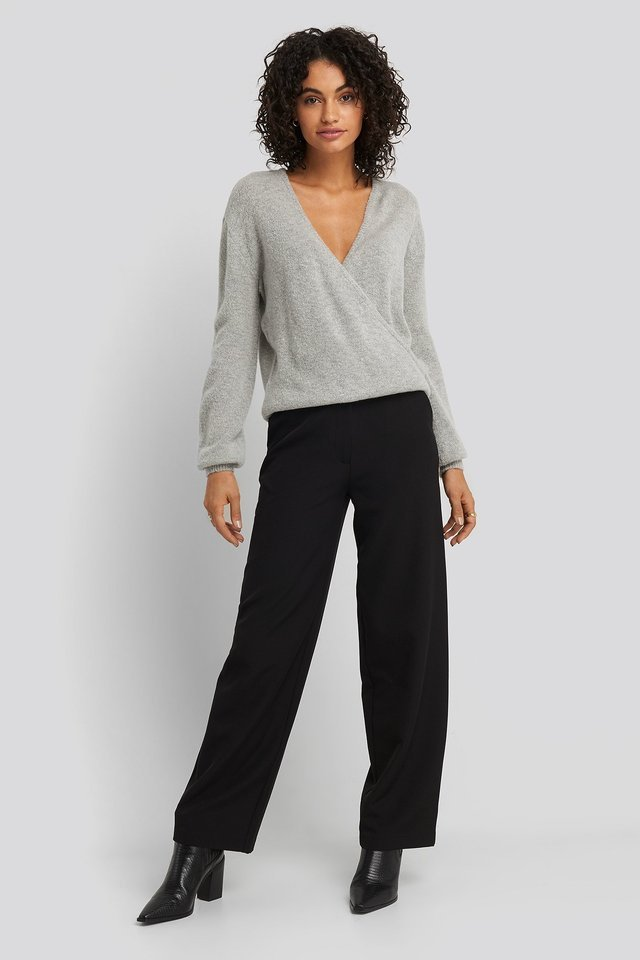 V-Neck Overlap Knitted Sweater Outfit.