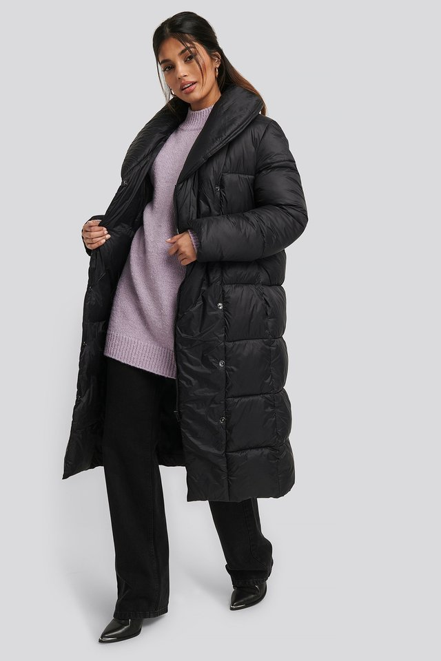Padded Long Jacket Black Outfit.
