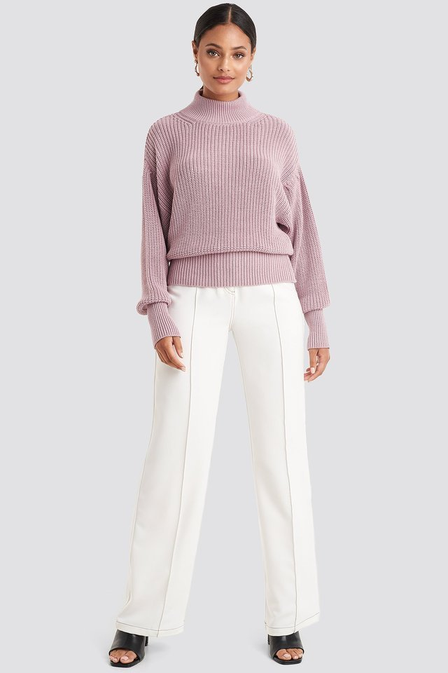 Dusty Pink Volume Sleeve High Neck Knitted Sweater