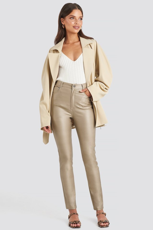 Coated Cotton Pants Outfit.