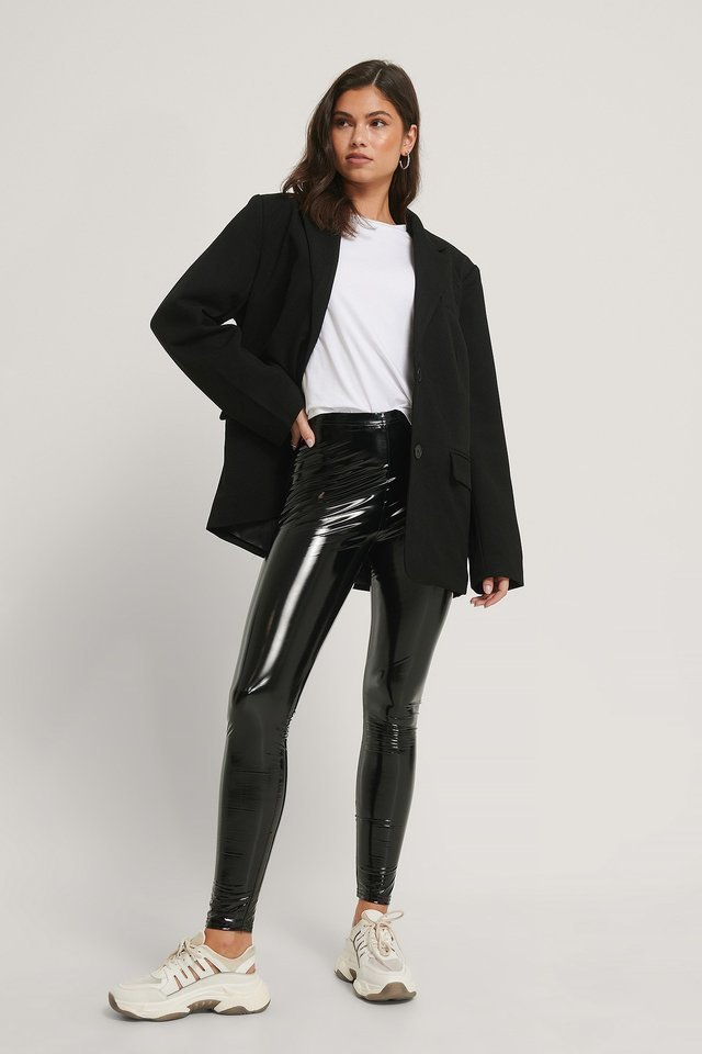 Lacquered Leggings Outfit.