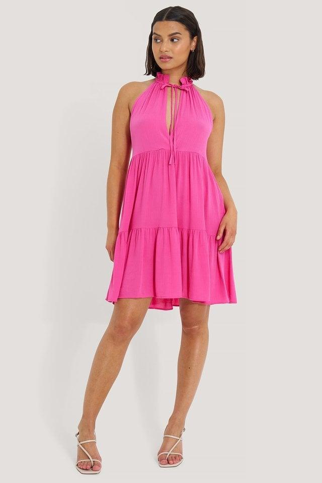 Halter Neckline Mini Dress Outfit.