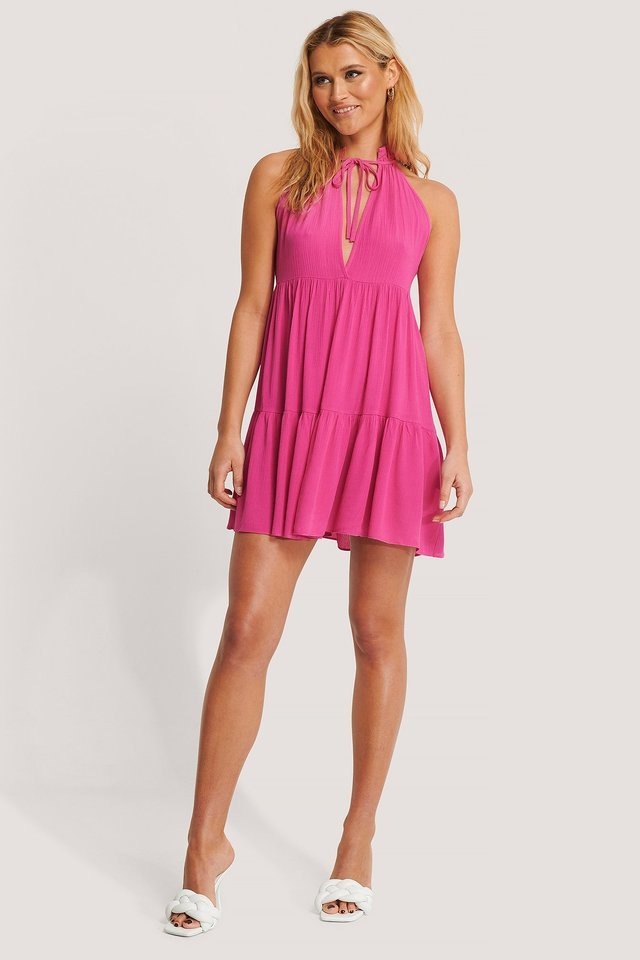 Halter Neckline Mini Dress Outfit.