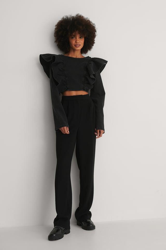 Flounce Denim Top Outfit!