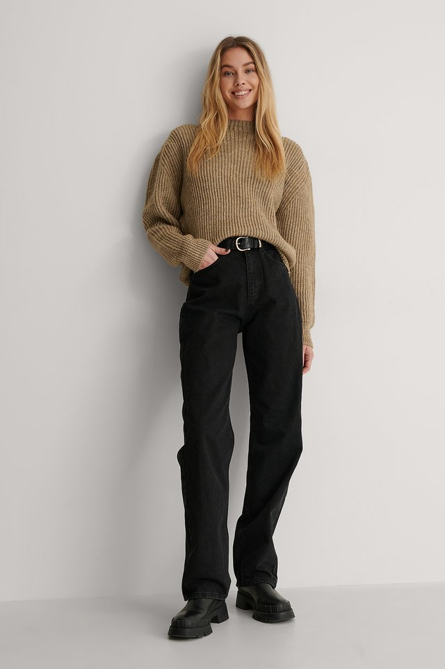 High Neck Ribbed Knitted Sweater Outfit.