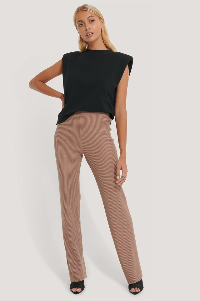 Knitted Ribbed Pants Outfit.