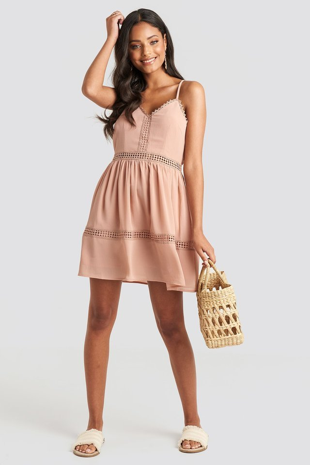 Lace Insert Flowy Mini Dress Outfit.
