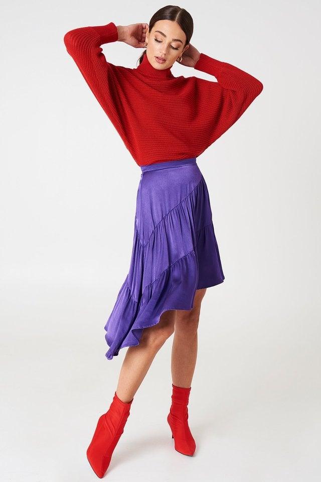 Strong Purple Shiny Asymmetric Skirt