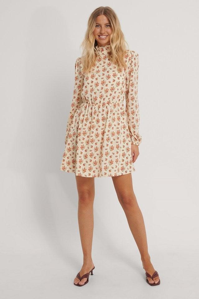 High Neck Elastic Waist Mini Dress Outfit.